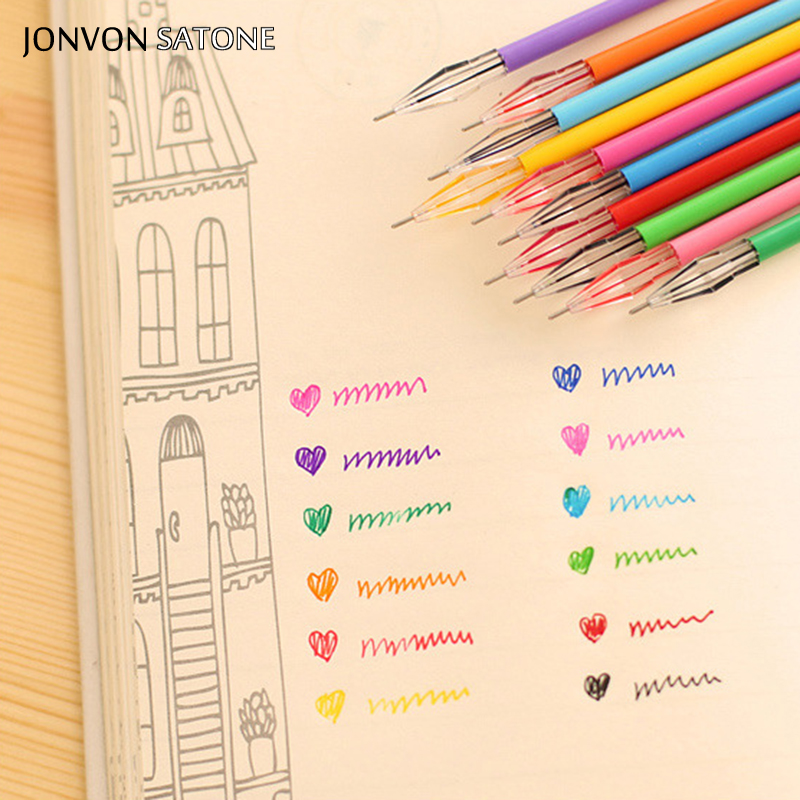 Jonvon Satone 12 Colors/lot Color Pen Korean Creative Stationery Core Drilling Stone Color Neutral Pen 0.38 Mm Office Stationery
