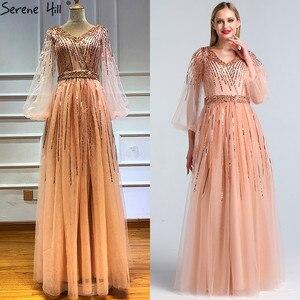 Image 2 - Dubai tasarım pembe v yaka 2020 abiye payetli uzun kollu lüks resmi elbise Serene tepe LA60948