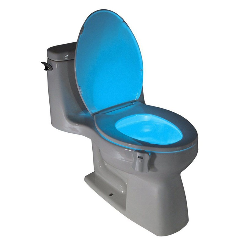 LED Light Human Motion Sensor Automatic Toilet Seat Bowl Bathroom Night Light 8 Colors Lamp