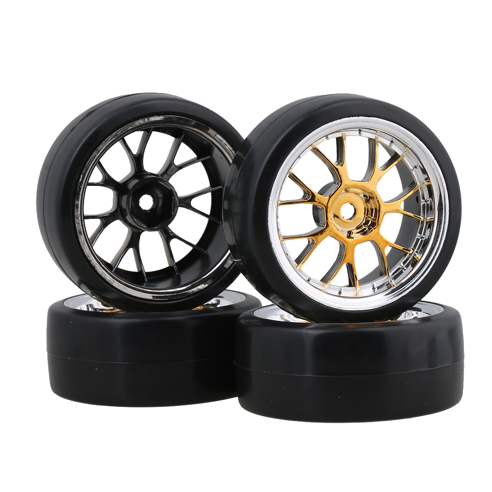 Mxfans Drift Smooth Tyres And Yellow Plating Y Shape Wheel Rims For RC 1:10 On Road Racing Car Pack Of 4