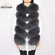 QC8006  QCFURS New arrival full pelt real fox fur gilet women vest furs high quality FREE SHIPPING