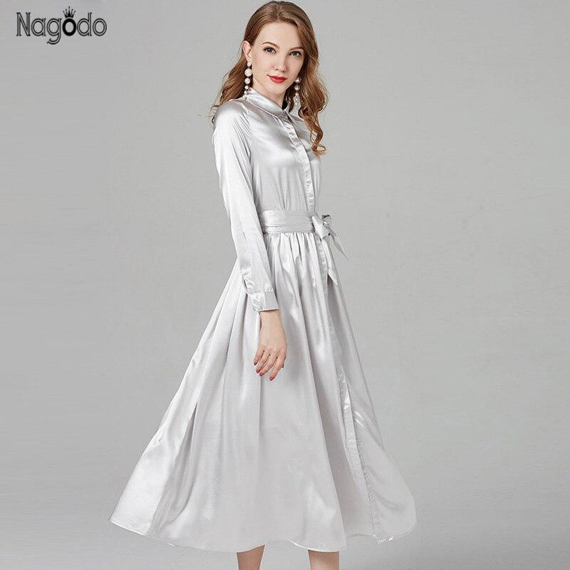 Nagodo Silver Maxi Dress 2019 New Summer Shirt Dresses Women High Quality Satin Slim Belt A-line Casual Long Dress Robe Femme