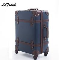 Высококачественная винтажная сумка на колесиках, кожаная сумка на колесиках, Женская Ретро сумка на колесиках, 20 дюймов, дорожная сумка для ...