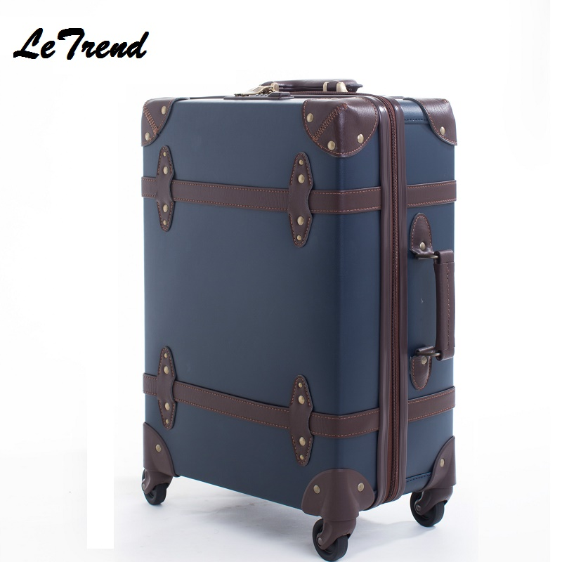 High Quality Vintage Suitcase Wheels Leather Rolling Luggage Spinner Women Retro Trolley 20 inch Cabin Travel Bag Men Carry On цена