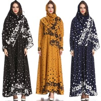 Print chiffon Muslim women long sleeve dresses with hijab
