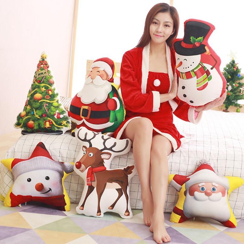 Cartoon Santa Claus Kudde / Kudde Plush Toy Julgran Suffed Animal Christmas present