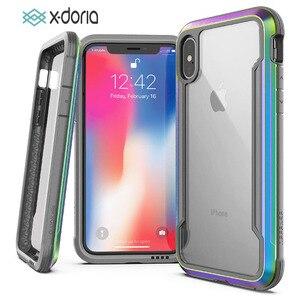 Image 1 - X doria Défense Bouclier Téléphone étui pour iPhone XR XS Max De Qualité Militaire Baisse Examinée Cas Coque Pour iPhone X XS Max Couvercle En Aluminium