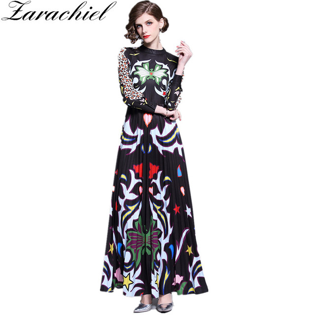 05a3576ff437 Spring Autumn Leopard Vintage Print Maxi Dress Women Runway Dresses 2019  Vestidos De Fiesta Long Sleeve Slim Long Pleated Dress
