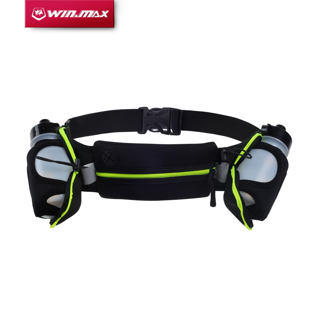 WINMAX Sport Climbing Camping Packing Cycling Running Waist Belts Pocket Running Belt Bags with 2 Water Bottles for Men & Women