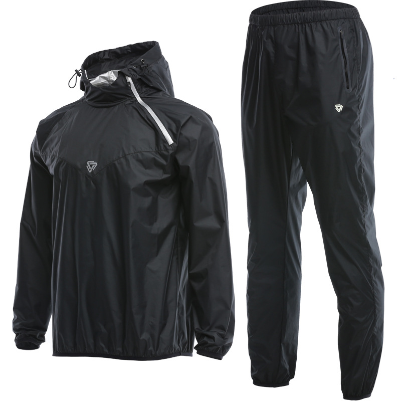 Men Sauna Suit Set Sport Jackets and Pants Suit Quick Dry Hooded Gym Clothing Running Training
