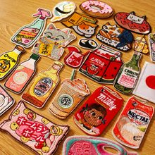 DIY Cartoon Bottle Patch Japan Anime-Patches Cute Animal Patches Iron on For Clothing Embroidery Applique Clothes Parches