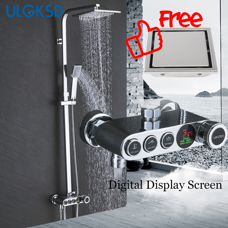 ULGKSD Bathroom Rainfall Shower Faucet Set Digital Display Shower Head Hot Cold Water Mixer Tap Ceramic Valve Bath Faucets wall mounted bath shower ceramic thermostatic faucets valve bathroom shower water thermostatic control valve mixer faucet tap 55