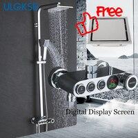 ULGKSD Bathroom Rainfall Shower Faucet Set Digital Display Shower Head Hot Cold Water Mixer Tap Ceramic Valve Bath Faucets