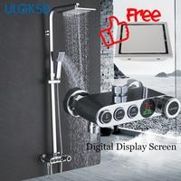 Ulgksd Ванная комната Осадки смеситель для душа набор цифровой Дисплей Насадки для душа горячей холодной воды смесителя Керамика Клапан Для в