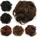 Women Fashion Elastic Chignon Hepburn's Style Hairpieces 35 Grams Lady Curly Black Brown Hair Bands Fake Hair Bun 6 color