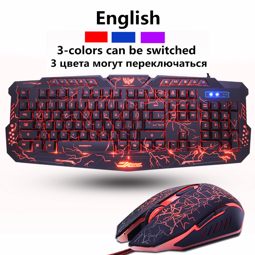 En Game Keyboard and mouse Combos Backlit USB Wired Waterproof cool blue red purple Russia