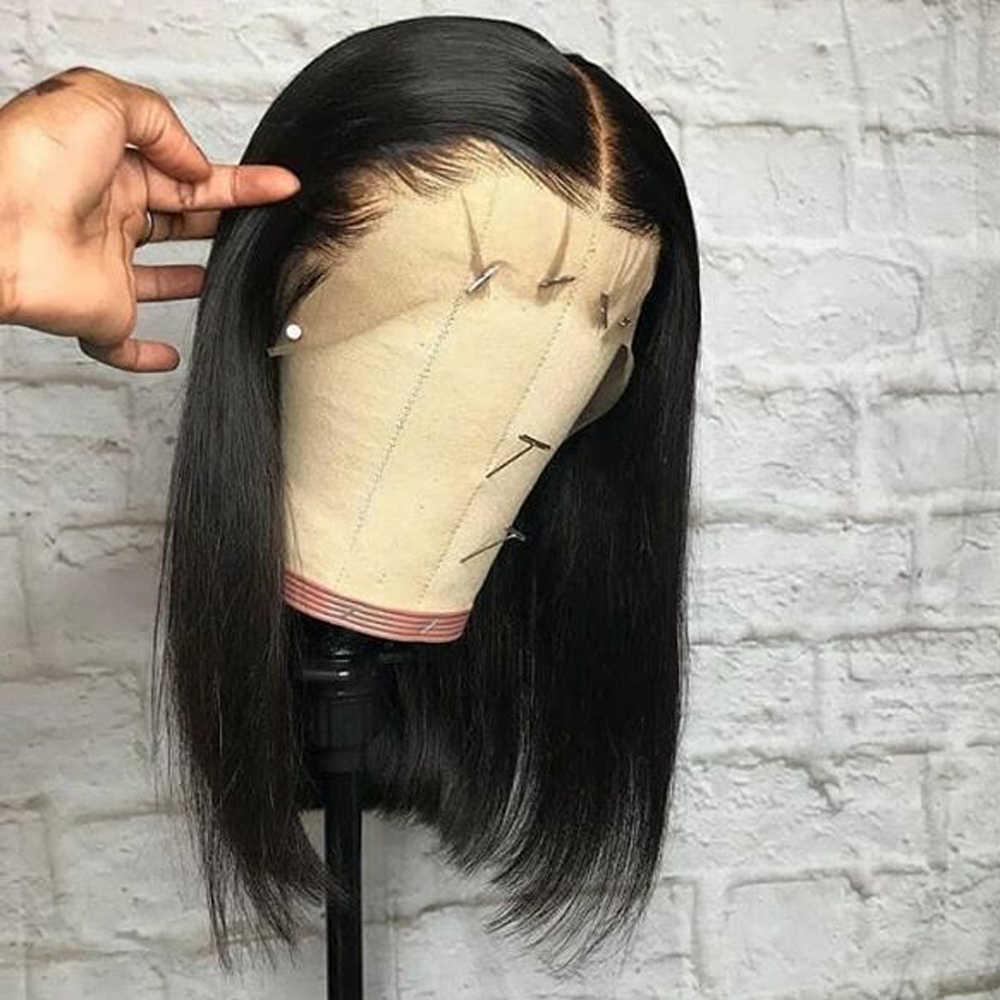 Предварительно сорванный короткий парик-Боб бесклеевая кружевная передняя часть человеческих волос парики для женщин бразильские Remy прямое, Омбре парик с волосами младенца