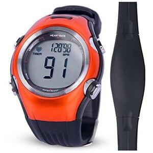 Image 5 - Часы мужские/женские спортивные с пульсометром, водонепроницаемые цифровые беспроводные оранжевые с нагрудным ремешком, для бега, велоспорта