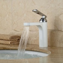 Free Shipping Bathroom Brass White Basin Vanity Sink Mixer Taps Deck Mount One Handle One Hole