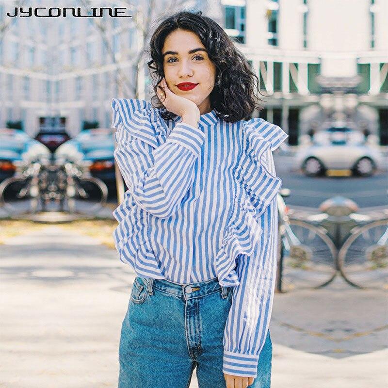 JYConline fodros blúz kék, csíkos ing 2017 Hűvös hosszú ujjú - Női ruházat