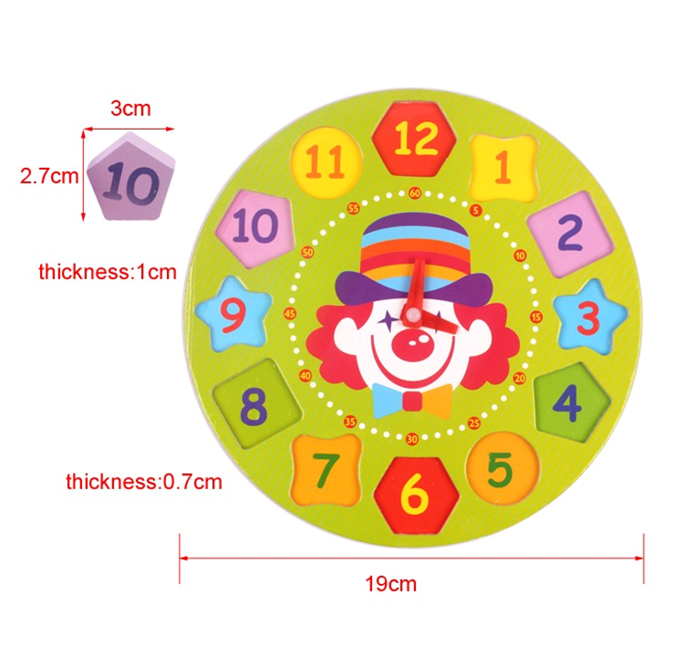 Kids Toys Wooden Blocks Clown Bear Digital Geometry Clock Children Educational Toy For Baby Boy and Girl Gift 9