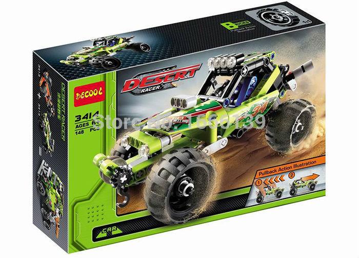 2016 new hot sale decool 3414 warrior decert racer pull back technic car Building Block Sets