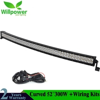 Combo Beam Off Road Truck 4wd 300w Curved 12v Work waterproof car 52 inch offroad LED Light Bar 4x4