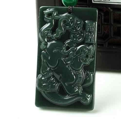 Китайский 100% натуральный Хотан Jade мифическое животное Pixiu ожерелье