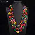 Bohemia Ethnic Necklace & Pendant Multi Layer Beads Jewelry Vintage Statement Long Necklace For Women Handmade Wood Jewelry