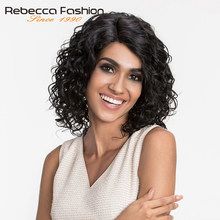 Rebecca L Part Lace Front Human Hair Wigs For Black Women Natural Curly Peruvian Remy Romance Curly Wig 10 Inch Free Shipping(China)