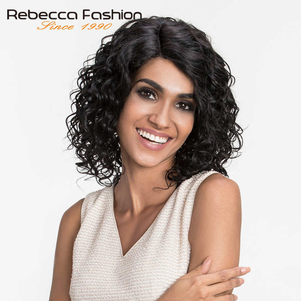 Rebecca L Part Lace Front Human Hair Wigs For Black Women Natural Curly Peruvian Remy Romance Curly Wig 10 Inch Free Shipping