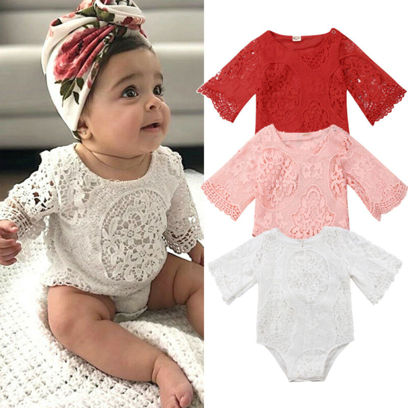 Newborn Baby Girl Lace White Red Pink Floral Romper Toddler Infants Body Suit Jumpsuit Outfits Clothes Summer Clothings Sunsuits