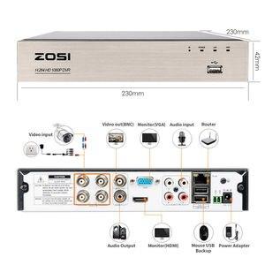 Image 2 - ZOSI grabador de vídeo DVR híbrida de alta definición 4 en 1 HD TVI, 2,0 MP, 4 canales, Full 1080P, para registro de Sistema de cámaras de seguridad CCTV