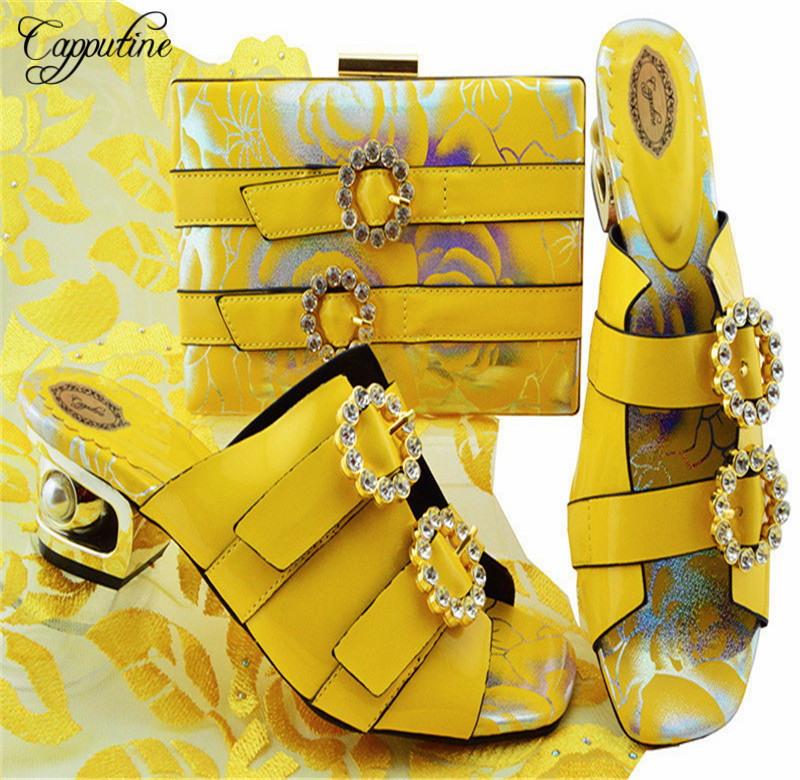 Capputine Italian Design Party Shoes With Matching Bags Set High Quality African Ladies Pumps Shoes And Bag Sets On Stock YK1064 high quality heels pumps shoes african design women shoes and bag set to match italian shoes with matching bags set me3316