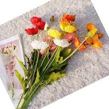 Цветочные Свадебные Декоративные искусственные цветы Букет шелк Настоящее прикосновение искусственный цветок мака товары для домашнего сада декор