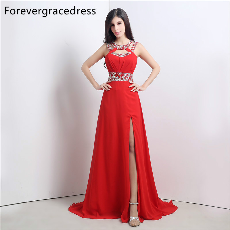 Forevergracedress Real Picture Red   Prom     Dress   New Style A Line Halter Beaded Crystals Chiffon Long Formal Party Gown Plus Size