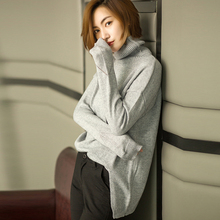 17 new autumn and winter high turn collar cashmere sweater sets sweater loose sweater long sleeve backing knitted jacket female