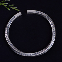 Real Solid 999 Silver Heart Sutra Bangles For Women And Men Chinese Words Vintage Thai Silver Buddhism Cuff Bangles Adjustable