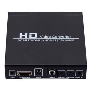 Image 1 - Convertidor de vídeo de alta definición Full HD 1080P euroconector Digital HDMI a HDMI, adaptador de enchufe europeo/de potencia para EE. UU. Para HDTV HD