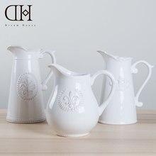Dream House DH Ceramic Vintage Seal Pattern Hydroponics Flower Vase Home Wedding Decoration maison Accessories Modern VS133269