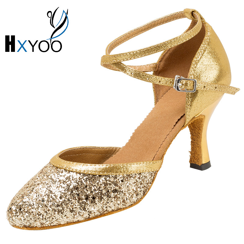 HXYOO 2018 Lady Latin Tango Dancing Shoes Woman Salsa Soft Sole Satin Dance Shoes Gold White Color With Customized Heels WK047