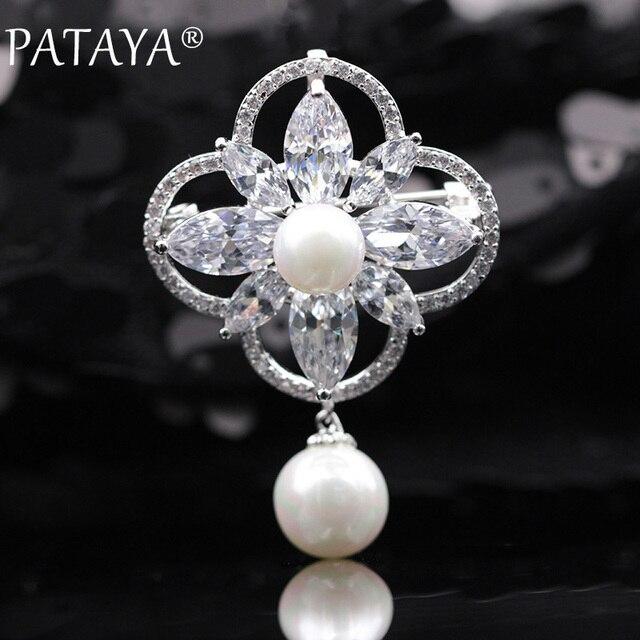 PATAYA New Micro-wax Inlay Horse Eye Natural Zircon Shell Pearls Brooches True White Gold Women Wedding Party Luxury Jewelry