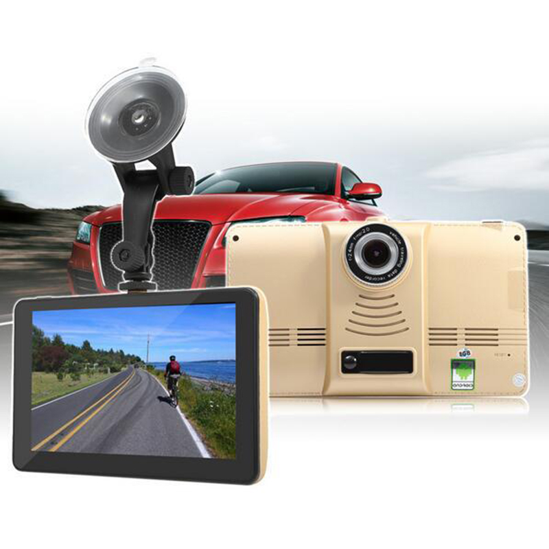 7 Inch Capacitive Car DVR Camera GPS Navigator Recorder Android GPS Navigation WIFI FM Truck GPS Sat Nav 8GB Free Map Toruist beling g710a car gps navigation with av in 7 in touch screen wince 6 0 8gb vehicle navigator fm sat map mp4 sat nav automobiles