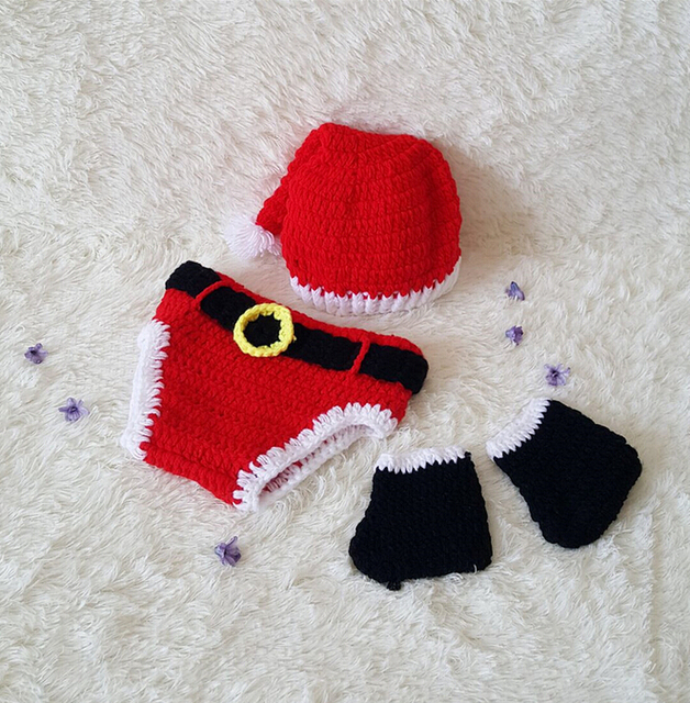 Newborn baby girl boy xmas photography sets christmas prop photo crochet knit costume hats shorts shoes
