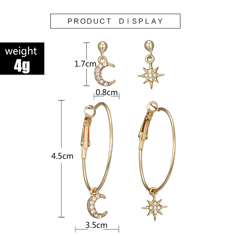 Tocona 4pcs/set Bohemian Star Moon Earring Geometric Crystal Pendant Stud Earring for Women Girl Pericing Earings Jewelry 6505
