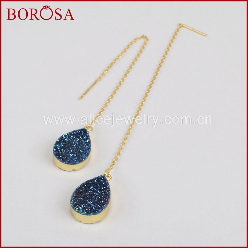 BOROSA 5pairs Drusy Crystal Threader Earrings Gold Electroplated Drop Earring for Women Titanium Druzy Dangle Earrings G1242