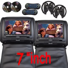 """7""""Black Car DVD/USB/SD/Headrest Video Player LCD Monitor Dual Screen DVD Player for car with Dual Channel  free two IR Headsets"""