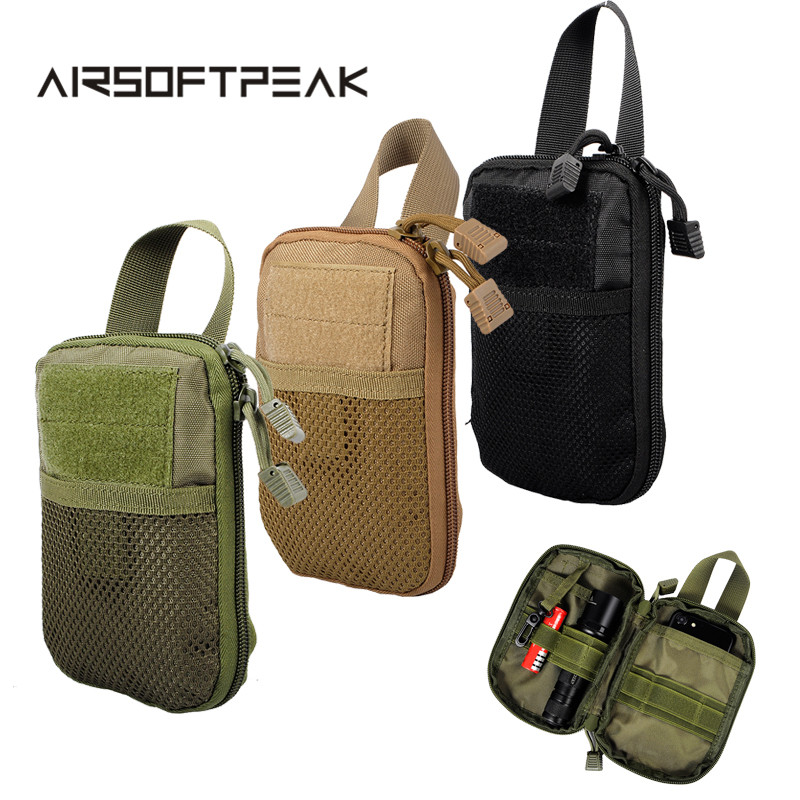 AIRSOFTPEAK Military Molle EDC Pouch Mesh Tools Accessory Pouches Tactical Waist Hunting Bags Outdoor Flashlight Magazine Pocket military tactical camouflage drop leg thigh magazine pouch 5 56mm and pistol magzine airsoftsports paintball hunting accessory