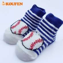 OKOUFEN Rugby Motion Modeling Baby Socks Striped Casual Style Infant Newborn Pure Cotton Socks for Boys