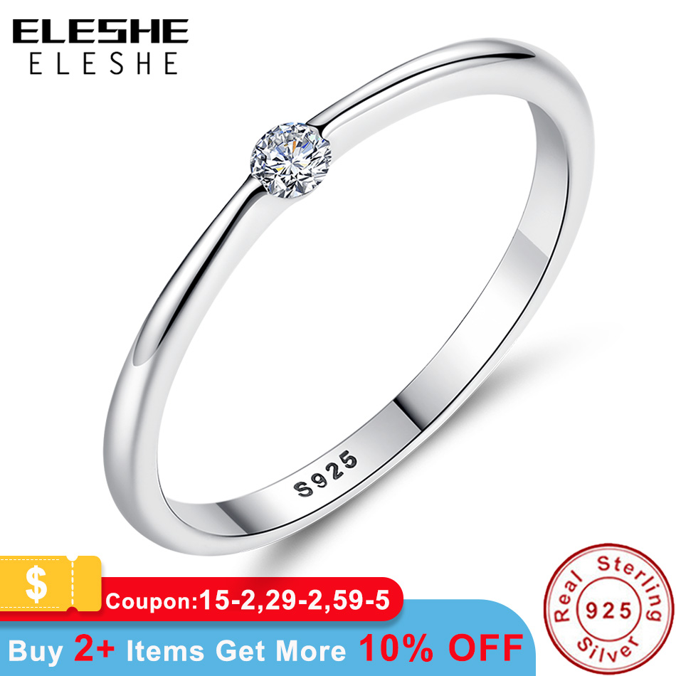 ELESHE Authentic 925 Sterling Silver Rings Round Zirconia Crystal Finger Rings for Women Wedding Original Silver Jewelry(China)